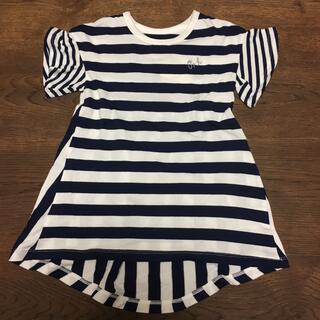 ハッカキッズ(hakka kids)の【新品】半袖ボーダーチュニック 100(Tシャツ/カットソー)