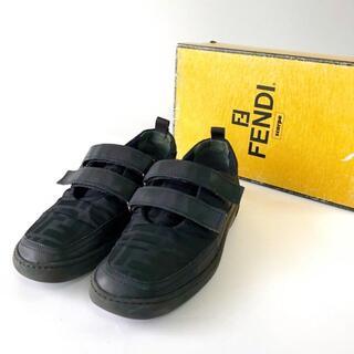 フェンディ(FENDI)のFENDI フェンディ スニーカー ズッカ柄 ベルクロ 黒23cm靴レディース(スニーカー)