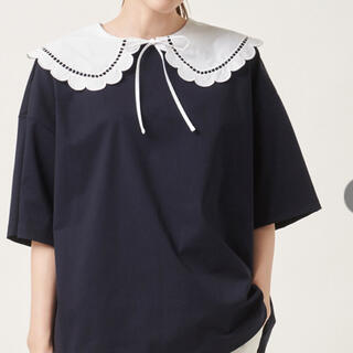 ドゥロワー(Drawer)のyori 新品タグ付き スカラップカラーカットソー ネイビー(カットソー(半袖/袖なし))