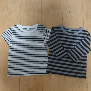 ムジルシリョウヒン(MUJI (無印良品))の無印良品 ボーダー Tシャツ 半袖 長袖 80cm 2枚(Tシャツ)