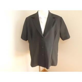シマムラ(しまむら)の美品★19R/3L4Lゆったり大きいサイズ★しまむら黒半袖テーラードジャケット(テーラードジャケット)