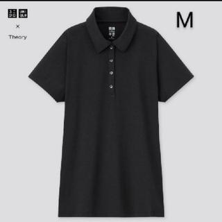 ユニクロ(UNIQLO)のユニクロ セオリー エアリズムAラインポロシャツ ブラック M 新品(ポロシャツ)