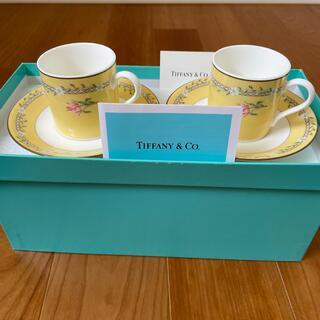 ティファニー(Tiffany & Co.)のティファニー ピンクチューリップ デミタスカップ&ソーサー 2セット(食器)