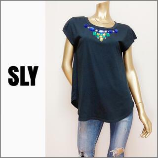 SLY - SLY ネックビジュー Tシャツ カットソー*マウジー JEANASIS ザラ