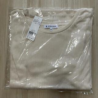 グローバルワーク(GLOBAL WORK)のTシャツ 白 M リブクループルオーバー5分袖(Tシャツ(半袖/袖なし))