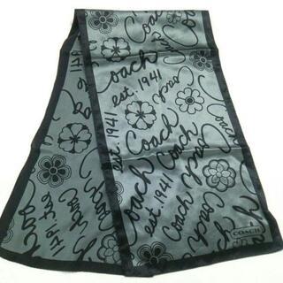 コーチ(COACH)のコーチ スカーフ美品  - グレー×黒 花柄(バンダナ/スカーフ)