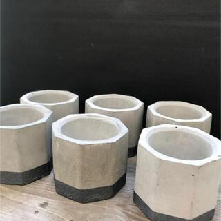 オシャレ アイアン塗装セメント鉢6点セット(プランター)