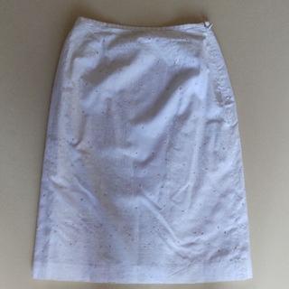 グリモワール(Grimoire)の綿 白 膝丈スカート 日本製(ひざ丈スカート)