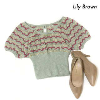 リリーブラウン(Lily Brown)のLily Brown リリーブラウン★ボーダー柄 サマーニット ショート丈(ニット/セーター)