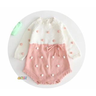 ザラキッズ(ZARA KIDS)の☆ニットロンパース ピンク ドット 水玉 73cm  韓国子供服☆(ロンパース)