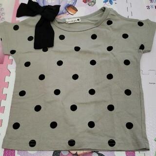 Branshes - キッズ 100 ブランシェス Tシャツ 半袖 ドット 水玉 カーキ 女の子 夏物