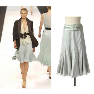 クロエ(Chloe)の専用♡Chloé ランウェイ アイシーグリーン 裾たっぷりフレアシルクスカート(ひざ丈スカート)