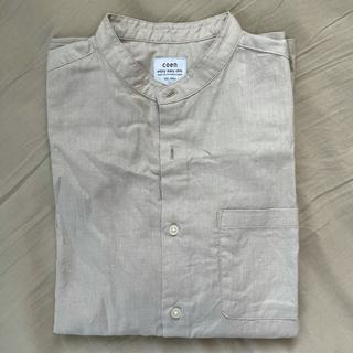 coen - 【美品】 COEN コーエン バンドカラー ノーカラーシャツ 半袖 ベージュ
