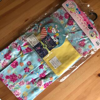 ニシマツヤ(西松屋)のこども浴衣 4点セット 100 水色 花 新品未使用タグ付き(甚平/浴衣)