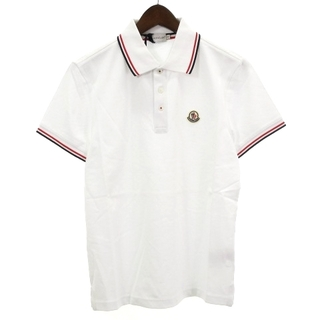 MONCLER - モンクレール ポロシャツ 半袖 鹿の子 ロゴ ワッペン コットン 白 赤 紺 S