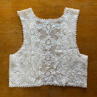 mame - 美品 クロッシェ刺繍ジレ オフホワイト ⑦