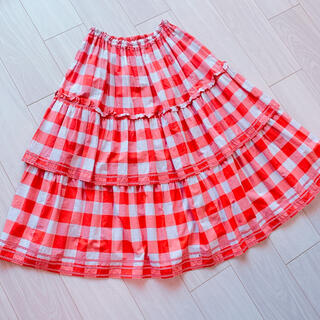 PINK HOUSE - PINK HOUSE ギンガムチェックティアードスカート