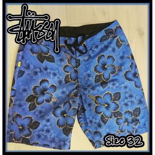 STUSSY - TUSSY ブルー花柄 水着 サーフパンツ