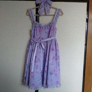 アンジェリックプリティー(Angelic Pretty)のsweetie violetジャンパースカートクリップ ラベンダーse(ひざ丈ワンピース)