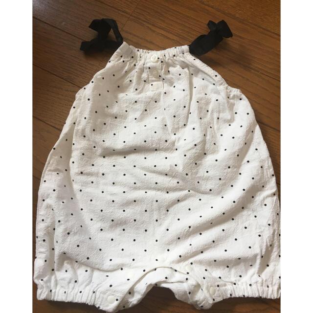 petit main(プティマイン)のプティマイン 肩リボン ロンパース ドット おでかけ キッズ/ベビー/マタニティのベビー服(~85cm)(ロンパース)の商品写真