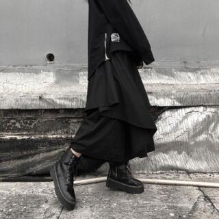 大人気!変形ワイドパンツ サルエルパンツ 袴 レイヤード 黒 フレアスカート(サルエルパンツ)