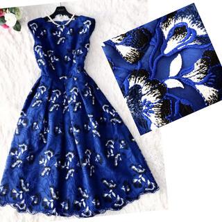 GRACE CONTINENTAL - 新品未使用‼️【ダイアグラム グレースコンチネンタル】刺繍が華やかワンピース青色