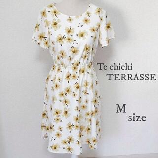 テチチ(Techichi)の【Te chichi TERRASSE】花柄 ワンピース 半袖 白 Mサイズ(ひざ丈ワンピース)