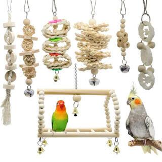 鳥おもちゃ 7点セット オウム 鳥グッズ 吊下げ セキセイインコ 原木塗料不使用
