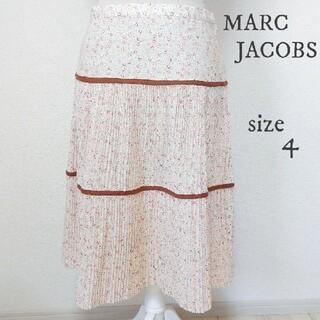 マークジェイコブス(MARC JACOBS)の【MARC JACOBS】小花柄 プリーツ スカート ロング 白 サイズ4(ロングスカート)