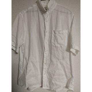 ムジルシリョウヒン(MUJI (無印良品))のフレンチリネン洗いざらし半袖シャツ紳士L・白無印良品(シャツ)