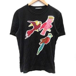 ドルチェアンドガッバーナ(DOLCE&GABBANA)のドルチェ&ガッバーナ ドルガバ Tシャツ クルーネック 半袖 鳥柄 46 M 黒(Tシャツ/カットソー(半袖/袖なし))