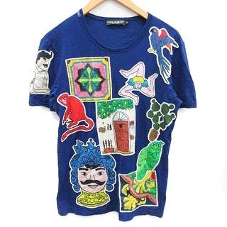 ドルチェアンドガッバーナ(DOLCE&GABBANA)のドルチェ&ガッバーナ ドルガバ Tシャツ カットソー 半袖 ワッペン 46 青(Tシャツ/カットソー(半袖/袖なし))