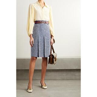 グッチ(Gucci)の新品 21SS GUCCI グッチ ホースビット プリーツスカート 46 青(ひざ丈スカート)