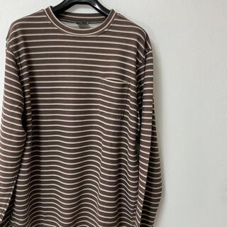 グッドイナフ(GOODENOUGH)のGOODENOUGHグッドイナフボーダーカットソーtシャツロンtブラウンポケット(Tシャツ/カットソー(七分/長袖))