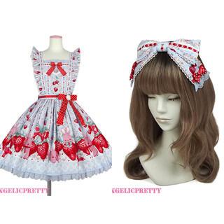 Angelic Pretty - Little Bunny Strawberry スカート&カチューシャセット