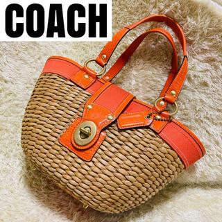 コーチ(COACH)のコーチ かごバッグ サマーバッグ ターンロック 保存袋 チャーム付き 10728(かごバッグ/ストローバッグ)