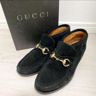 美品!GUCCI グッチ 24.0 本革 イタリア製 ブラック 革靴 ベロア
