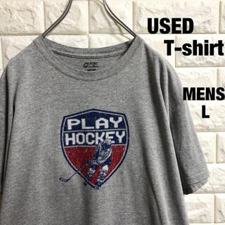 アメリカ古着 アイスホッケー プリント Tシャツ メンズLサイズ(Tシャツ/カットソー(半袖/袖なし))