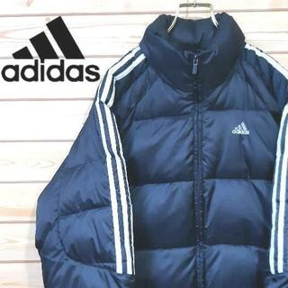 アディダス(adidas)のアディダス 中綿ジャケット サイズL 刺繍ロゴ ネイビー(ダウンジャケット)