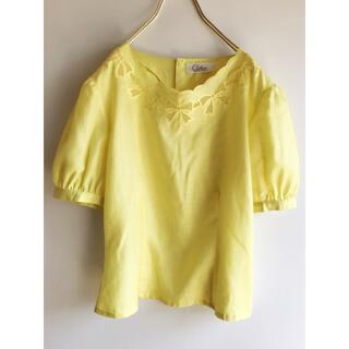 サンタモニカ(Santa Monica)のvintage clothass リボン刺繍 ブラウス ヴィンテージ(シャツ/ブラウス(半袖/袖なし))