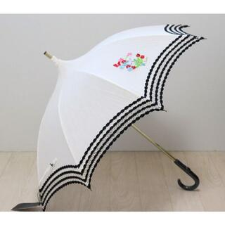 ANNA SUI - 新品【アナスイ】日傘 麻綿生地 パゴダ豪華レースにポイト刺繍 白 木製バンブー