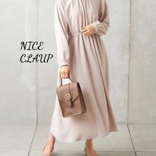 NICE CLAUP - 新品 NICE CLAUP ウエストギャザーワンピース