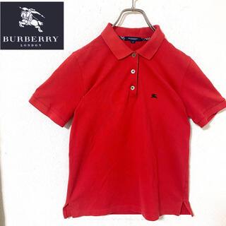 バーバリー(BURBERRY)のバーバリーロンドン バーバリー ポロシャツ ノバチェック レッド レディース M(ポロシャツ)