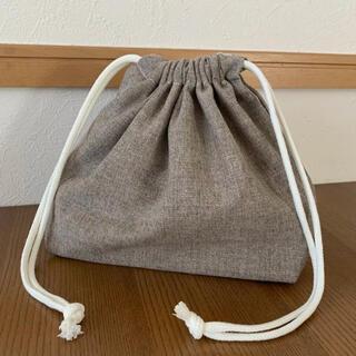 巾着(お弁当袋)・コットンリネン ブラウン(外出用品)