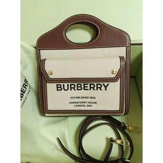 BURBERRY - バーバリー ミニ ツートン キャンバス&レザー ポケットバッグ