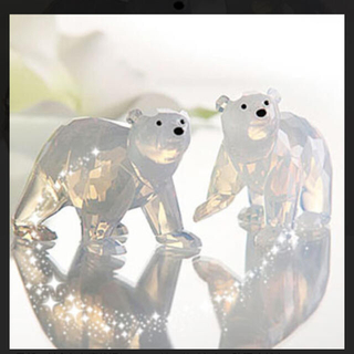 スワロフスキー(SWAROVSKI)のスワロフスキー SCS会員限定 2011年 ホッキョクグマの赤ちゃん2匹(置物)
