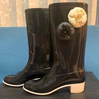 シャネル(CHANEL)のCHANEL レインブーツ カメリア 黒 サイズ36(レインブーツ/長靴)