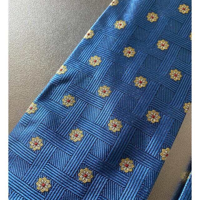 Gianni Versace(ジャンニヴェルサーチ)の激安 Versace ヴェルサーチ ネクタイ ブルー 花柄 ドット 小紋 ロゴ メンズのファッション小物(ネクタイ)の商品写真