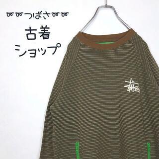 STUSSY - 【マルチボーダー】古着 STUSSY リンガーTシャツ トレンド 緑 茶 レトロ