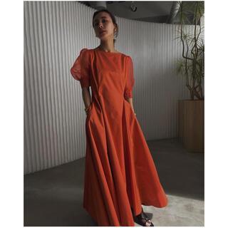 Ameri VINTAGE - AMERI sheer puff sleeve dress オレンジ Mサイズ